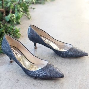 Badgley Mischka Gray Shimmer Pointy Toe Heels